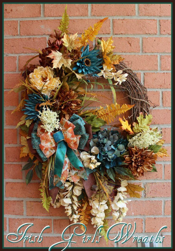 Tuscan Autumn Teal Beauty Wreath, Gold, Ivory, Brown XXL Wreath, Luxury,