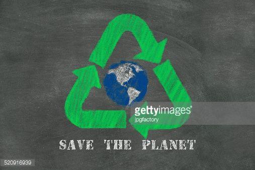 Stock Illustration : save the planet on blackboard