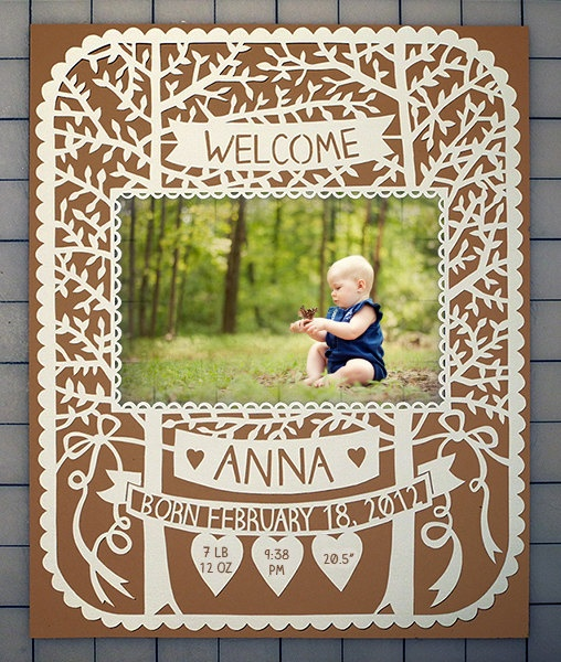 Handcut Custom Papercut - ORIGINAL - Baby Frame with Custom Name and Date - 8x10  via SarahTrumbauer on Etsy.