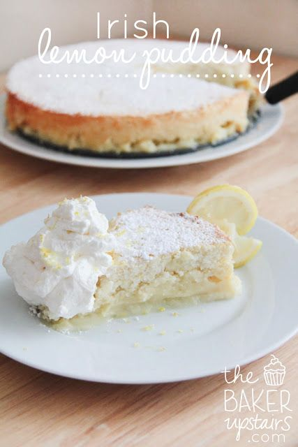 Irish Lemon Pudding -- This recipe was adapted from the cook book Traditional Irish Cooking and sounds like a great finish to a St. Patrick's Day meal.