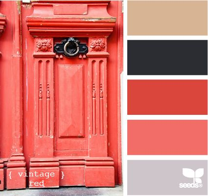 vintage red scheme for basement rooms (theater room, library, Josh and jill rooms, living room).  Theater: Red, Black, slight brown. Library: Black, Brown, hint of red.  Living room: Gray and red (hint of black with pillows).  Josh and Jill Room: Black, Red, and gray.