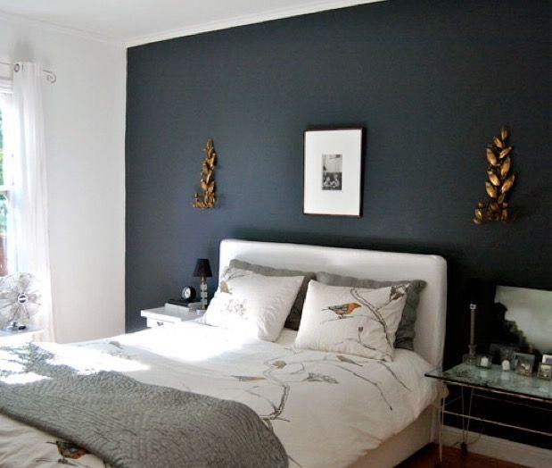 dark bedroom wall idea Hauge Blue som fondvegg på soverom   Soverom   Dark bedroom walls, Accent wall bedroom og Dark