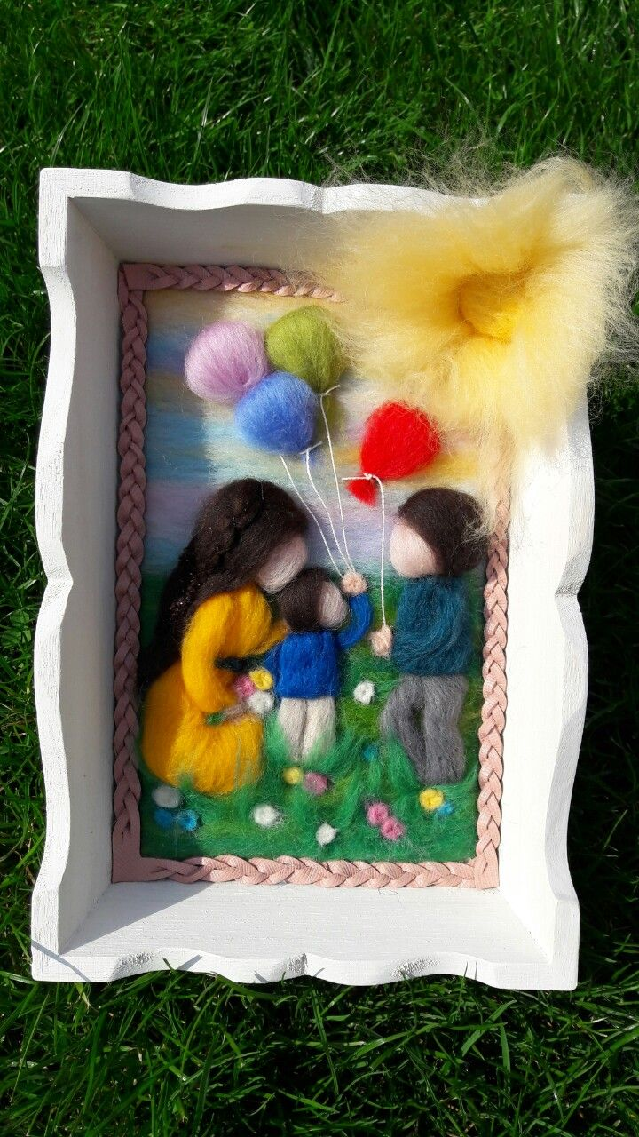 Felted family picture scene parents and little boy