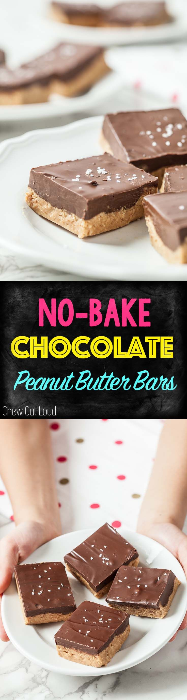 No Bake Chocolate Peanut Butter Bars. Make ahead, chill, and serve whenever you want! Freezes well. #chocolate #peanut #butter #peanutbutter #cookies #bars #dessert #sweets #treats #holidays #baking #recipe #delicious #chewoutloud www.chewoutloud.com
