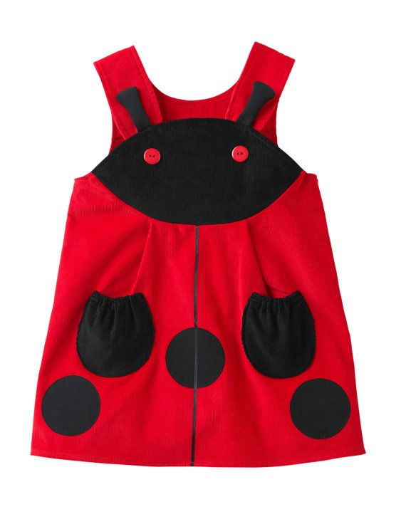 Girls Ladybird Play Dress Costume in red corduroy