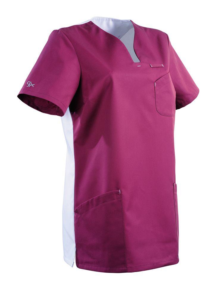 Blouse medicale femme Maithe Prune et blanc de la collection CLEMIX Lafont  Une blouse médicale couleur jolie et pas cher