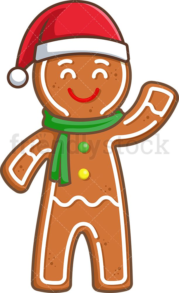 Gingerbread Man With Christmas Hat Cartoon Clipart Vector Friendlystock Christmas Hat Cartoon Clip Art Christmas Gingerbread Men