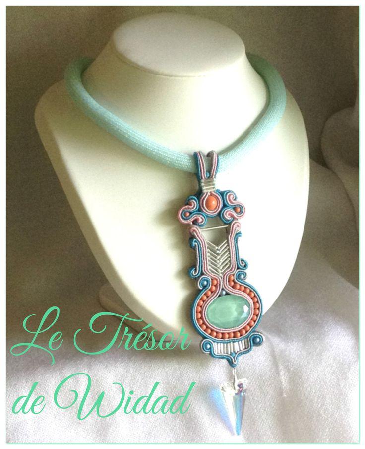 Collier soutache ethnique chic, Navajo: menthe Pailleté, décore cristaux Swarovski vert menthe, corail perle, Iridescent : Collier par le-tresor-de-widad