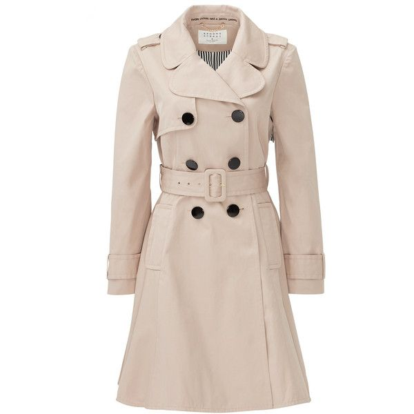 Rental kate spade new york French Beige Classic Twill Trench ($85) ❤ liked on Polyvore featuring outerwear, coats, brown, dresses, beige trench coat, beige trenchcoat, twill trench coat, kate spade and twill coat