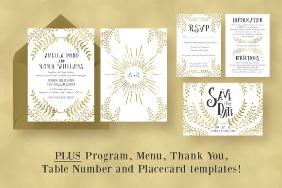 Gold Wedding Invitation Suite by Knotted Design on Creative Market