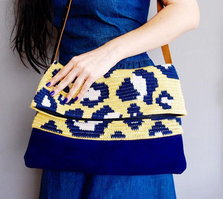 Leopard pattern crochet clutch by Molla Millls