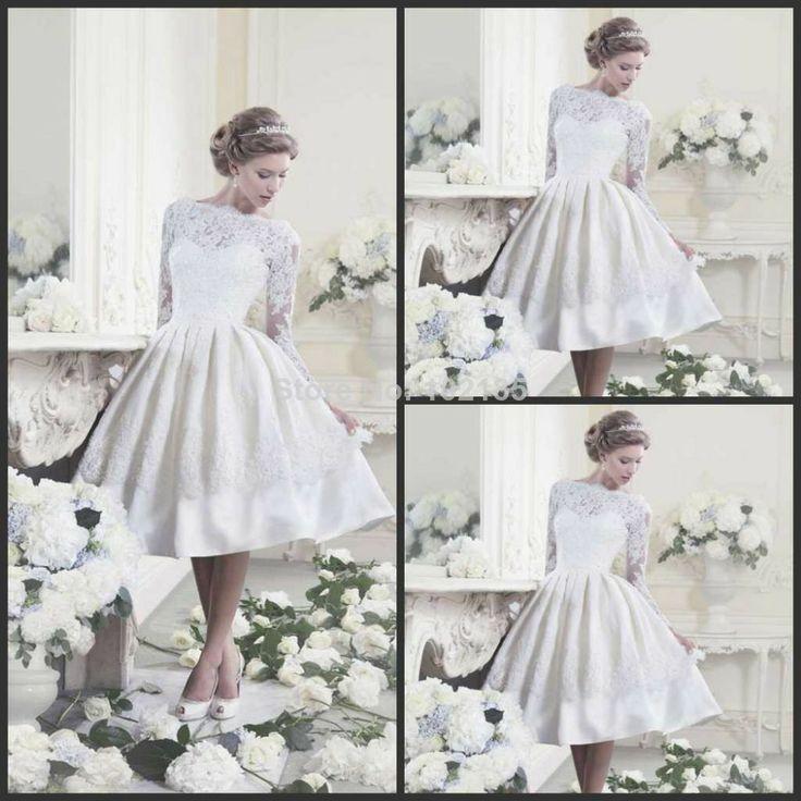 New arrival! White ivory knee length lace long sleeve wedding dress short vintage Wedding Dresses P16