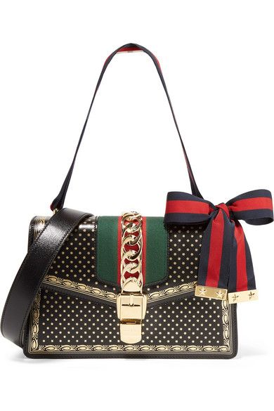636e01f2968 Gucci - Sylvie Small Chain-embellished Printed Leather Shoulder Bag - Black