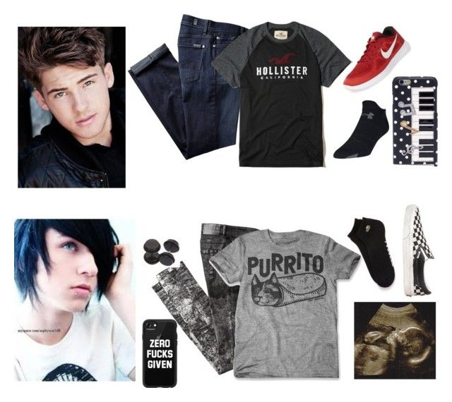 """""""Caiden and Oliver"""" by hufflepuffdeatheater ❤ liked on Polyvore featuring 7 For All Mankind, Hollister Co., Hot Topic, Lacoste, Under Armour, Vans, NIKE, Casetify, Dolce&Gabbana and men's fashion"""