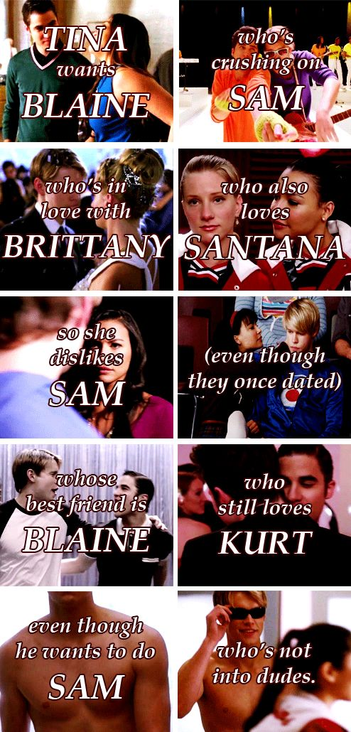 The relationships of  GLEE this makes complete Sense to Glee Fans. Kinda reminds me of the She's The Man posters,