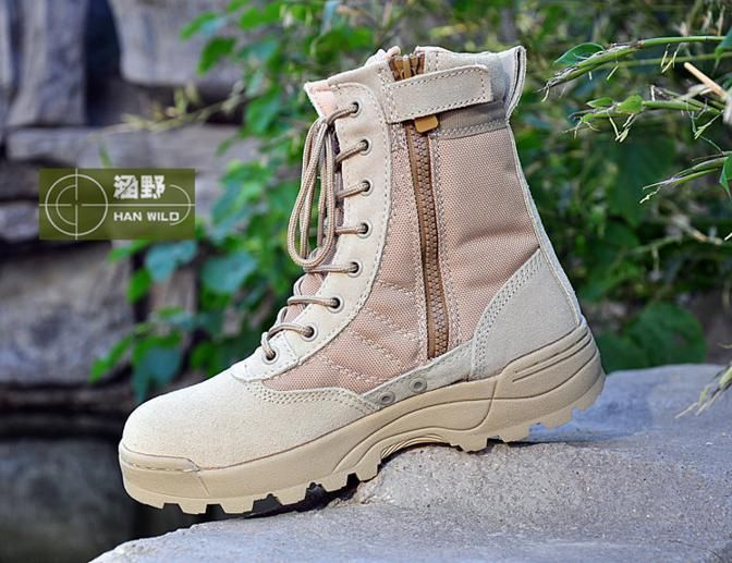 Men's Autumn/Winter Tactical Boots Desert/BLK Outdoor Army Shoes Combat Boots