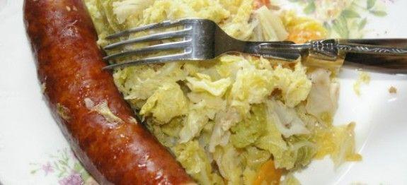 Chou blanc saucisses - Recettes Cookeo