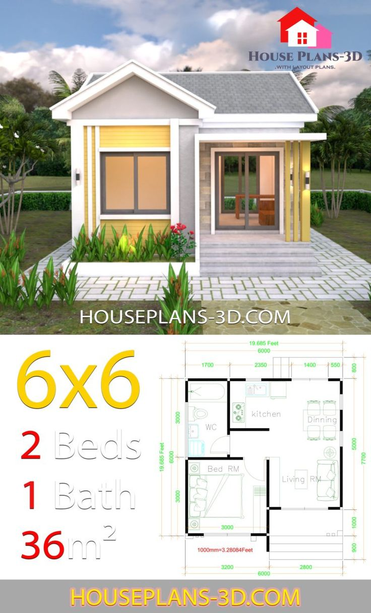 house design plans 6x6 with one bedrooms gable roof in on best tiny house plan design ideas id=23846