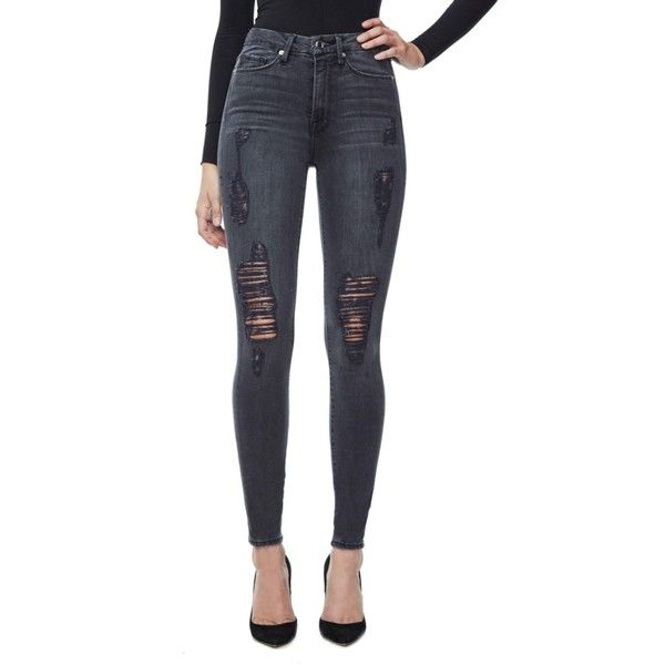 Women's Good American Good Waist High Waist Ripped Skinny Jeans ($169) ❤ liked on Polyvore featuring jeans, plus size ripped skinny jeans, distressed skinny jeans, plus size high waisted skinny jeans, high waisted ripped jeans and high-waisted jeans