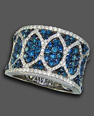 Bella Bleu by Effy Collection 14k White Gold Ring, White and Caribbean Blue Diamond (2-3/8 ct. t.w.) - Rings - Jewelry & Watches - Macy's