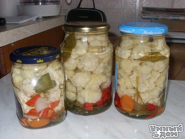 Маринованная цветная капуста - Лето!!! Ингредиенты Цветная капуста — 2 кочана (2 кг 200 г) Морковь — 2 шт. Болгарский перец — 2 шт. Чеснок — 100 гр. Лук репчатый — 1 шт. (большая) Острый перец — по 1-2 шт. на 1-литр. банку Укроп (зонтики), листья хрена, вишни, смородины Душистый перец Гвоздика Лавровый лист Уксус 70% Маринад: На 1 литр воды — 2 ст.л. соли, 1 ч.л. сахара Как приготовить По этому рецепту делаю капусту уже второй раз. В прошлом году делала впервые на пробу несколько баночек,…