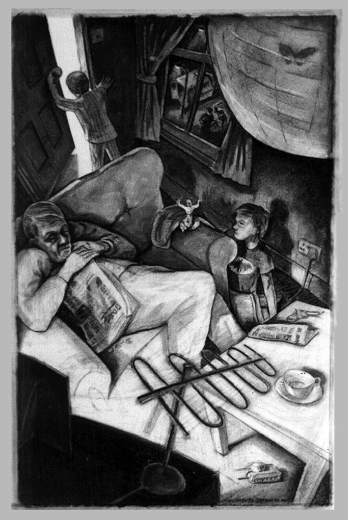 """The Bill's on Mum"" - Charcoal drawing ©Gary Drostle"