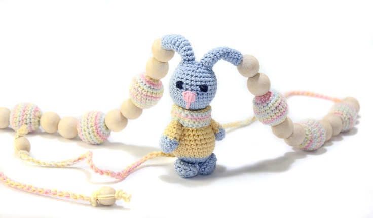 Nursing necklace / Teething necklace / rabbit / Crochet Necklace for mom and child / Breastfeeding Jewelry for Mom / Crochet sling necklace. $44.00, via Etsy.