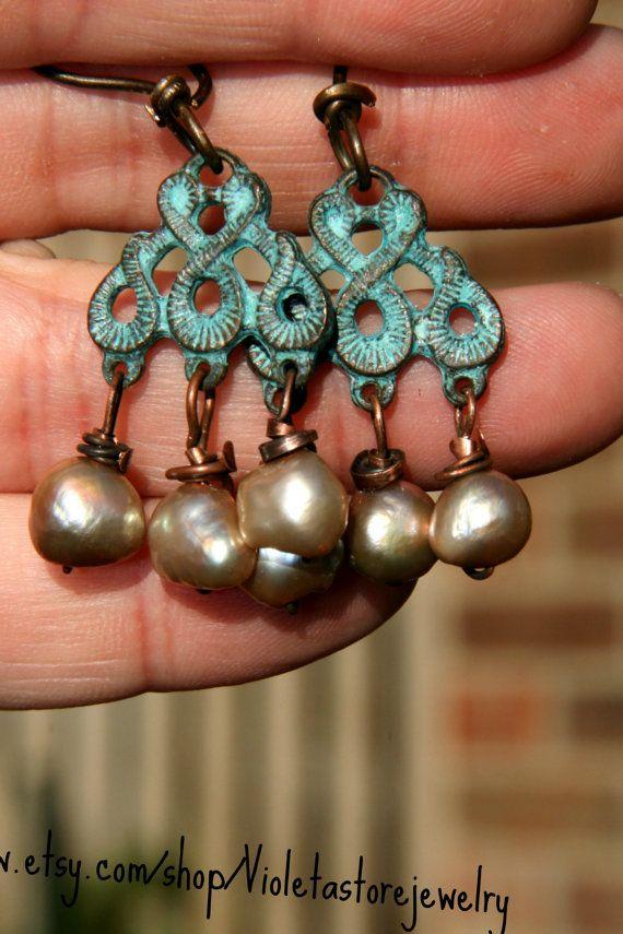 Fresh water pearls cooper ear wires. Six by Violetastorejewelry