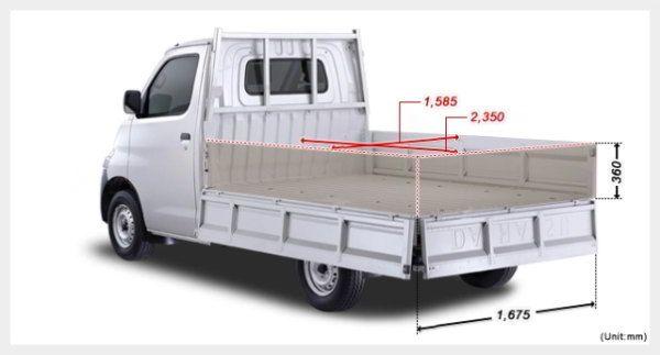 Rental sewa mobil Pick Up Jogja dengan sopir / tanpa sopir untuk angkutan maksimal 2ton. Ukuran bax P:2,35 M L:1,55 MT:0,36 M