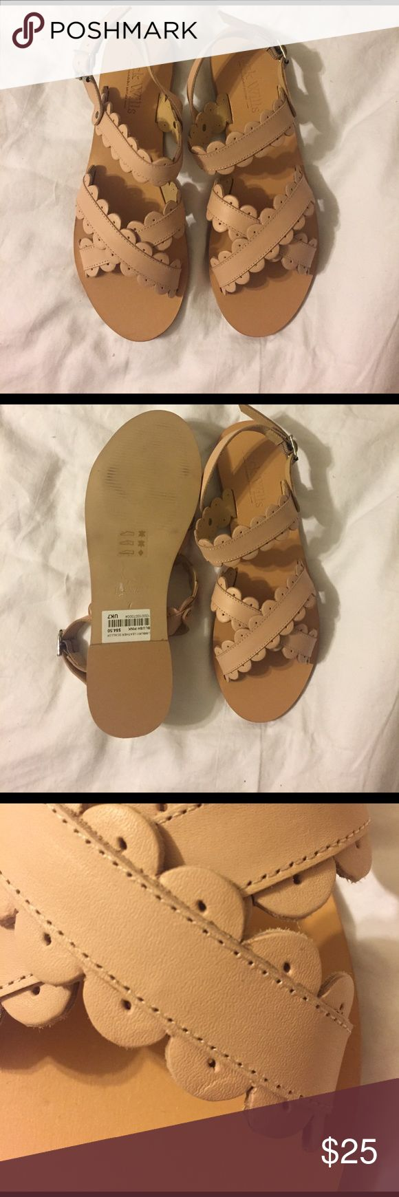 Jack Wills Nude Scallop Sandals Precious nude leather sandals with scallop detail by Jack Wills! Worn maybe once- price tag still attached! Great with summery dresses or ripped jeans and a blouse! If you have any questions feel free to ask :) Jack Wills Shoes Sandals