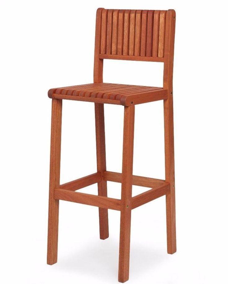 Eucalyptus Wood Sturdy Contemporary Barstool Indoor Outdoor Furniture New #barstool