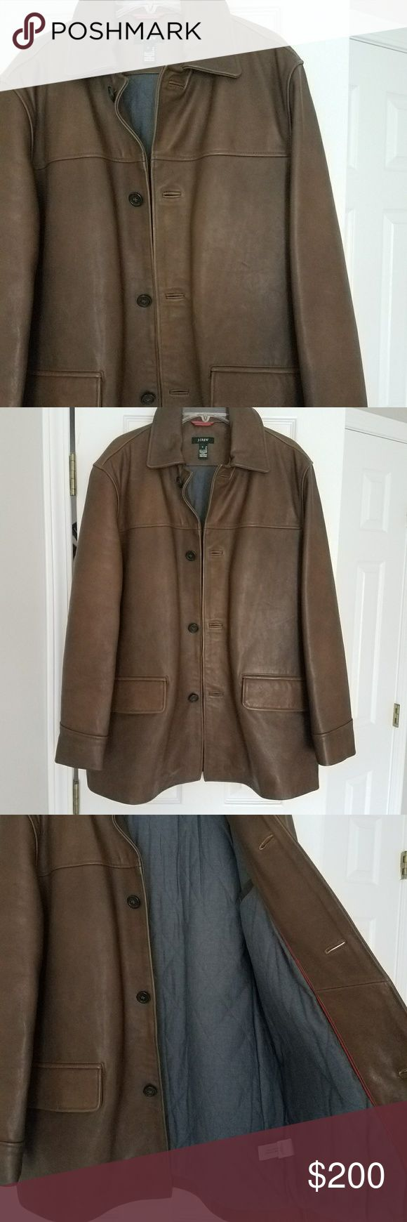J crew men's leather coat Gently used but still in wonderful condition only worn handful of times. Real leather. No rips, stains, or wears. Inside is quilted fabric.   Great For a holiday gift or to get you through the holidays. J. Crew Jackets & Coats Pea Coats
