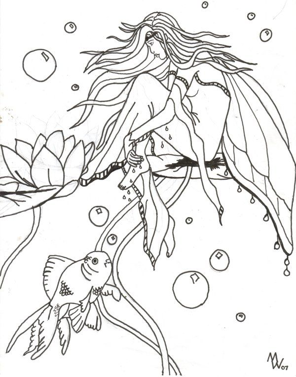 Water fairies coloring pages