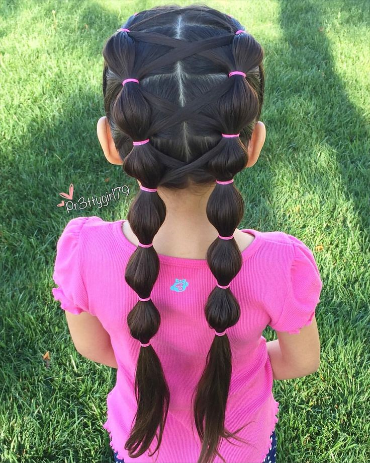 Bubble crisscrossed pigtails for today  #pr3ttyhairstyles