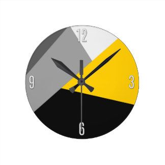 Simple Modern Gray Yellow and Black Geo Wall Clocks