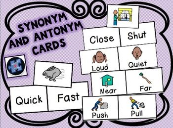 Great Synonym & Antonym Cards!  Amazing for student with autism, ABA therapy, and all learners who benefit from the use of visuals!