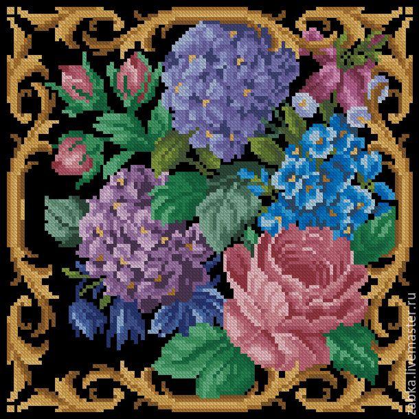 Купить Гортензия - разноцветный, схема для вышивки, схема для вышивки крестом, ретро, старая схема