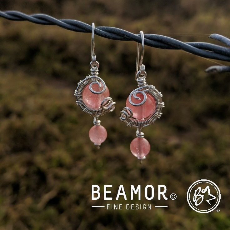 #cherryquartz weave wrap earrings. Available in many different stones. #jewellery #earrings #gemstone #bohojewelry #bohostyle #etsy #beamorefinedesign