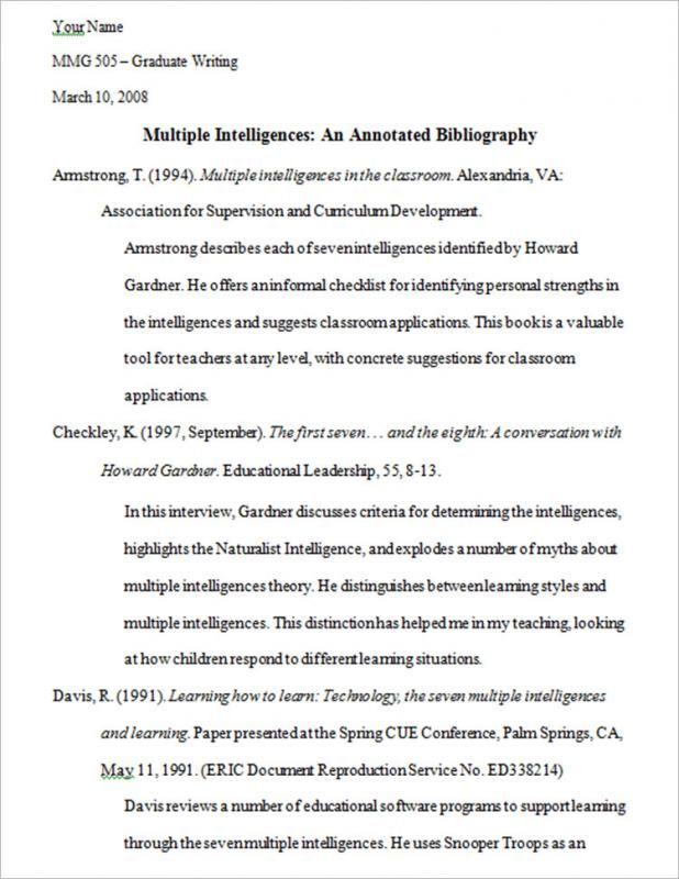 Annotated Bibliography Template Check more at