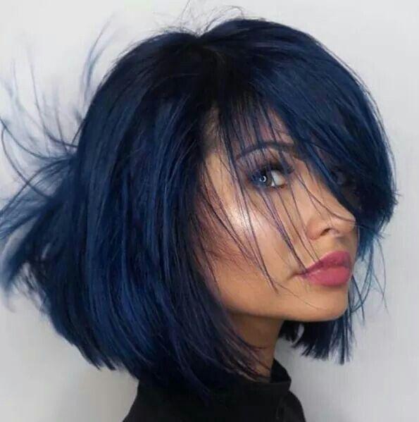 Gorgeous blue black hair color