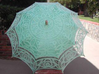 """Florence"" Mint Green Lace Parasol"