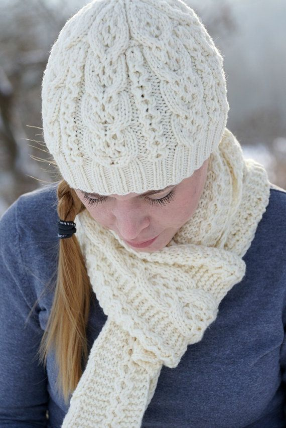Hand knit women white set scarf hat mittens merino by SockClub