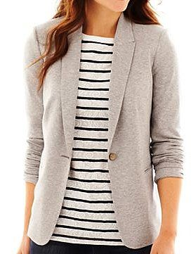 Dress Like a Boss Without Spending Like One: Liz Claiborne long-sleeve knit blazer ($50) is just the right neutral hue.