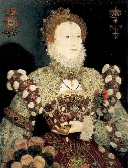 1574 Pelican Portrait by nicholas hilliard. Usually a miniaturist, this version of Elizabeth's face was one of only a few 'approved' -and much reproduced- images of her reign.