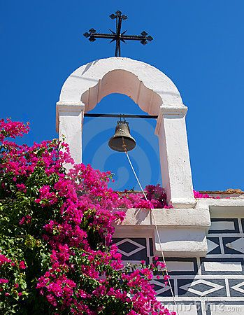 Bell with Christian cross on the Greek island of Chios