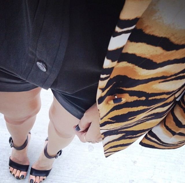 Leatherette Shorts and a hint of animal