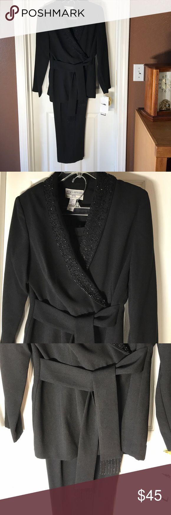 Two-piece beaded pant suit by Jessica Howard. Two-piece beaded pant-suit by Jessica Howard 12 petite 100% polyester gorgeous beating never been worn tags still on. Pants are 39 1/2 inches long waist is stretchable. Jessica Howard Other