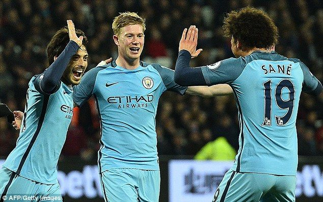 De Bruyne joins in with David Silva and Leroy Sane as City romped to an away victory