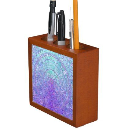 #Mandala Flower in Light Blue and Purple Desk Organizer - #office #gifts #giftideas #business