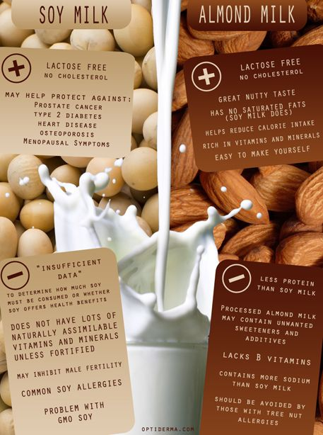 Let's compare them and study the pros and cons of drinking soy vs almond milk. Both are vegetarian and vegan-friendly. Both are lactose free and do not contain cholesterol. So what makes the real difference between almond and soy milk?